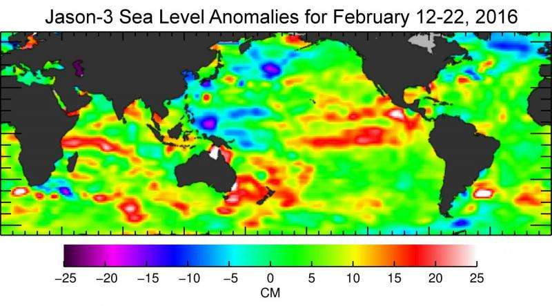 Jason-3 begins mapping oceans, sees ongoing El Niño