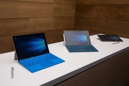Microsoft Surface Pro 4s pictured on October 6, 2015 in New York City