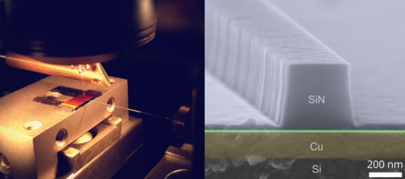 Nanoscale copper plasmonic waveguides on a silicon chip in a scanning near-field optical microscope (left) and their image obtai