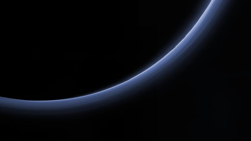 NASA image: Pluto's haze in bands of blue