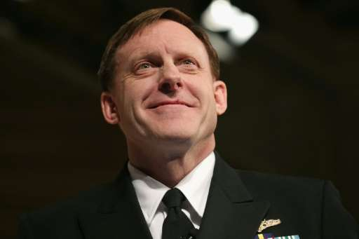"""NSA director Michael Rogers, pictured on April 2, 2015 in Washington DC, told Yahoo that """"some of the communications"""""""