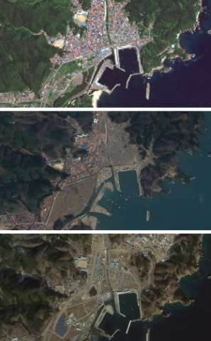 "Satellite images from Google's ""East Japan Earthquake digital archive project"" show the Japanese city of Miyako in Jul"