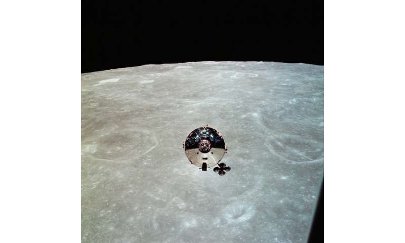 The Apollo 10 command module Charlie Brown piloted by US astronaut John W. Young is seen from the lunar module Snoopy after sepa