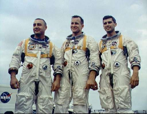The crew of Apollo 1 at the Kennedy Space Center, (from L) Virgil Grissom, Edward White, and Roger Chaffee