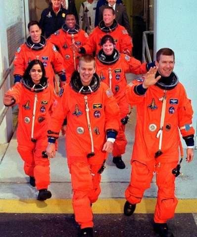 The crew of US space shuttle Columbia (front: L-R) William McCool, Rick Husband, (second row, L-R) Kalpana Chawla, Laurel Clark,
