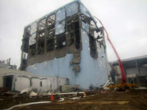 The crippled fourth reactor building at Fukushima on March 22, 2011, after earthquake and tsunami
