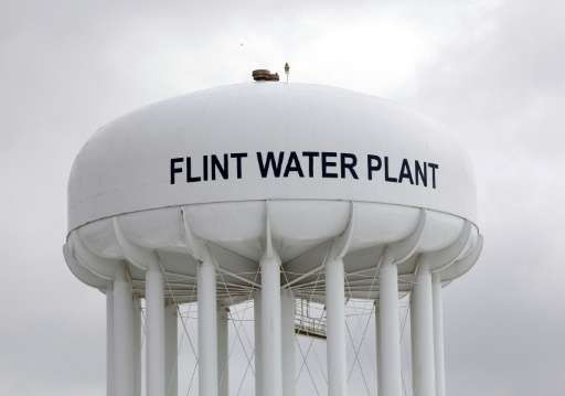 The Flint Water Plant tower is shown on January 13, 2016 in Flint, Michigan