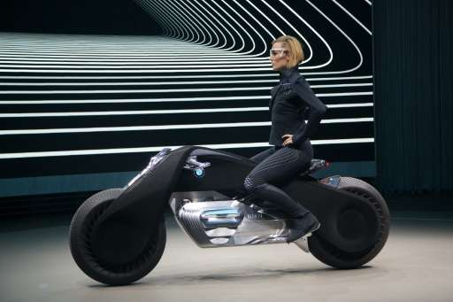 The self-balancing BMW Motorrad VISION NEXT 100 concept motorcycle is unveiled on the last of four international stops of the 'I