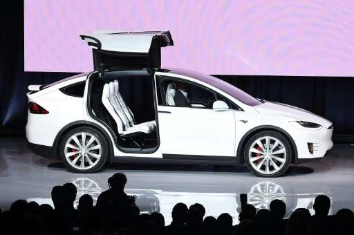 The Tesla Model X is presented during a launch event in Femont, California on September 29, 2015