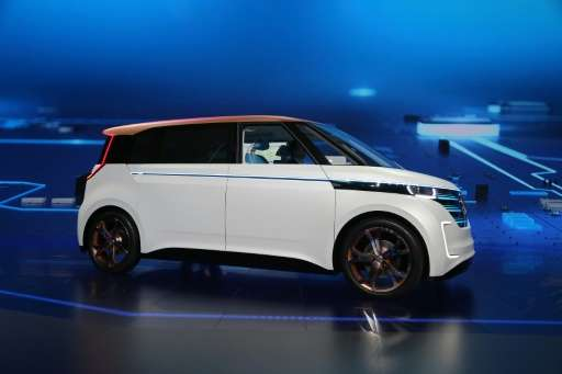 The Volkswagen BUDD-e is presented at a press conference at the CES 2016 Consumer Electronics Show on CES Press Day in Las Vegas