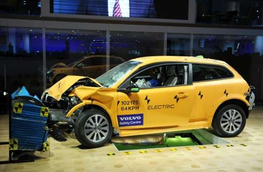Volvo displayed an electric C30 sedan that had been in a crash test to show its safety features on January 11, 2011