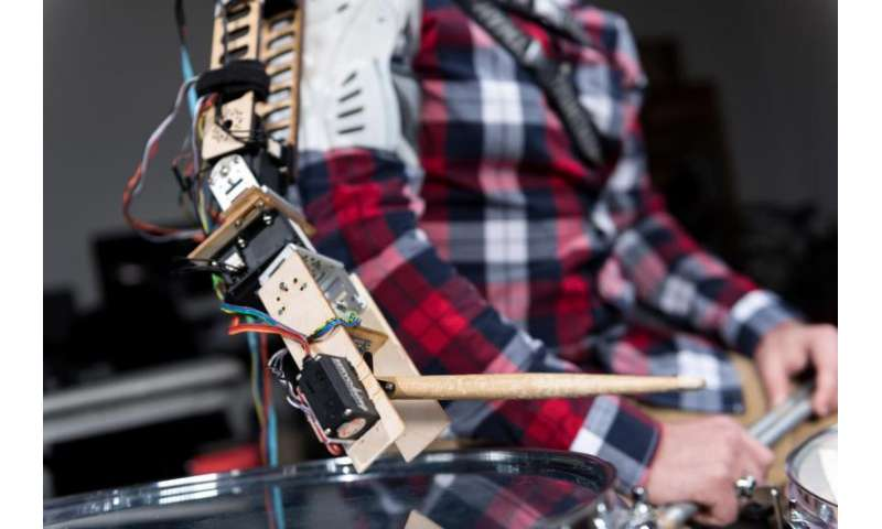Wearable robot transforms musicians into 3-armed drummers