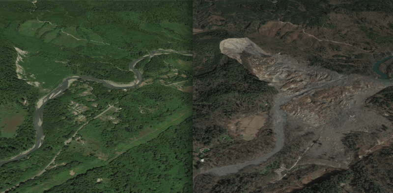 Before and after the Oso landslide in 2014. Credit: Joseph Wartman, CC BY-ND