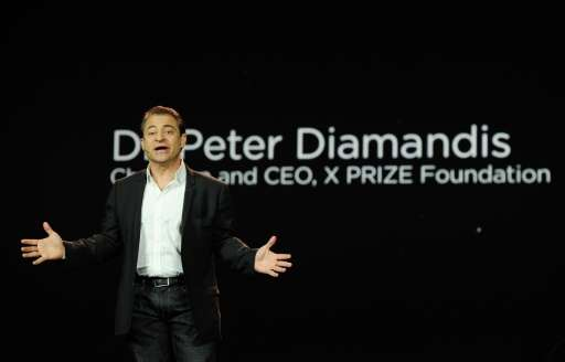 X Prize founder Peter Diamandis speaks during a presentation at the 2012 International Consumer Electronics Show on January 10,