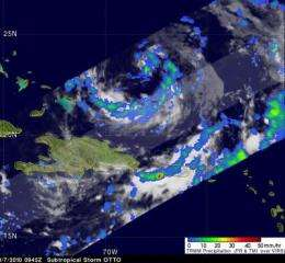 NASA satellites see Otto become a tropical storm