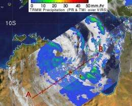 TRMM satellite sees Paul's low headed back to Gulf of Carpentaria