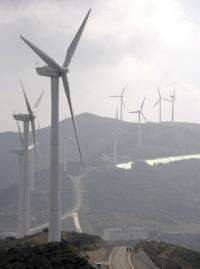 Wind turbines are seen in China's southwestern Yunnan province