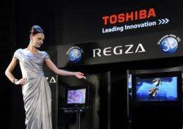 Japanese electronics company Toshiba unveils the world's first 3D television in Chiba