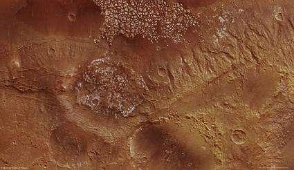 Rocky mounds and a plateau on Mars