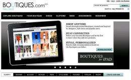 The front page opf Boutiques.com