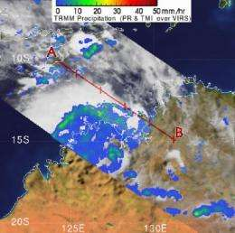 TRMM satellite sees system 98s raining on western Australia
