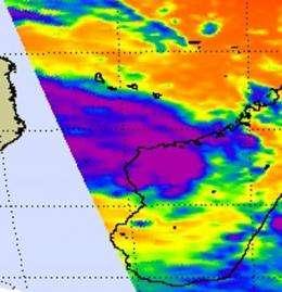 NASA satellite sees Tropical Storm Bingiza hugging the western Madagascar coastline