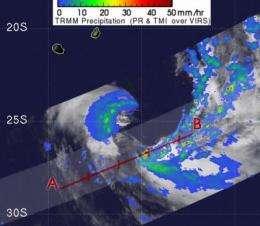 2 NASA satellites see TD11S going extra-tropical