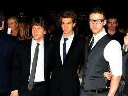 Actors (L-R) Jesse Eisenberg, Andrew Garfield and Justin Timberlake promote their new film