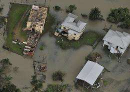 An aerial photo shows the aftermath of Cyclone Yasi