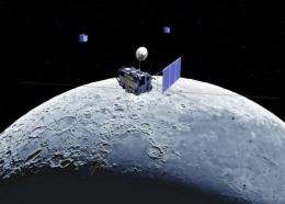 An illustration of the lunar observation satellite Kaguya