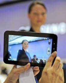 A picture is taken with Samsung's latest tablet device the
