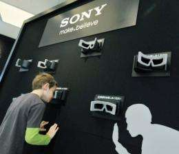 A visitor watches 3D images at the Sony showroom in Tokyo