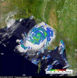 Category 4 Cyclone Giri hits Burma, NASA satellite sees heavy rainfall