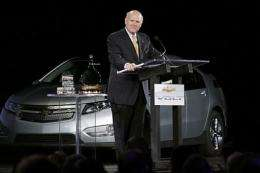 Dan Akerson speaks at the rollout of the Chevrolet Volt hybrid electric vehicle
