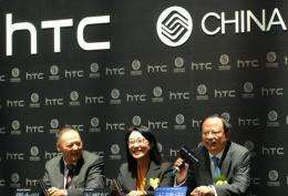 HTC said it will introduce four new smartphones to China including two touch-screen models