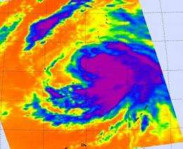 NASA sees important cloud-top temperatures as Tropical Storm Malakas heads for Iwo To