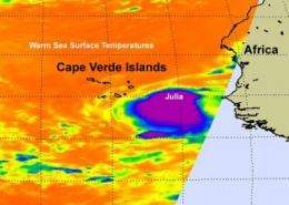 NASA sees Tropical Storm Julia born with strong thunderstorms and heavy rainfall