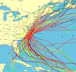 NOAA provides easy access to historical Atlantic hurricane tracks