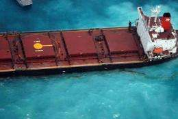 Oil leaks from the Chinese coal carrier the Shen Neng 1 after the vessel ran aground near Australia's Great Barrier Reef