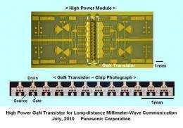 Panasonic Develops High Power Gallium Nitride Transistor for Long-distance Millimeter-Wave Communication