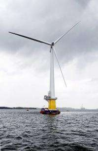 Photo obtained from StatoilHydro shows a floating full-scale offshore wind turbine