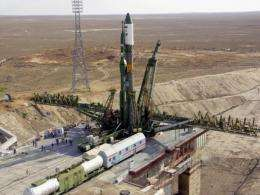 Picture taken in September 2005 shows Russian spacecraft Soyuz-U on the launchpad at the Baikonur cosmodrome