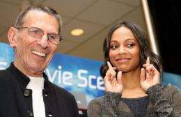 Star Trek legend Leonard Nimoy and new-generation star Zoe Saldana