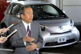 Takeshi Uchiyamada, executive vice president of Japanese automaker Toyota Motor, introduces the company's small car