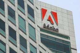 The Adobe logo is displayed in January 2010 in San Jose, California