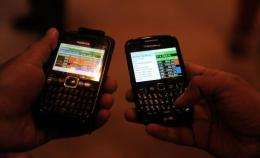 The Bombay Stock Exchange started trading in shares on mobile phones on Tuesday