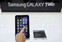 The Galaxy Tab has a seven-inch (18-centimetre) touch screen -- smaller than the iPad's nearly 10-inch display