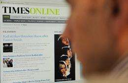 The Times will start charging online readers at the end of June