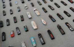 USB drives displayed at the office of Trek 2000 International in Singapore
