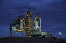 US space shuttle Discovery is seen at Kennedy Space Center's launch pad 39-A